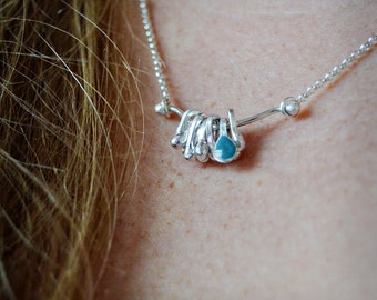 Stand Out Sterling and Blue Enamel Necklace