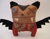 Handmade Grungy Vampire Bat Monster (BROWNLY)