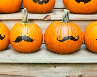 Pumpkin mustache stickers, no carve jack o lantern, Pumpkin face stickers jack o lantern decals Halloween decoration, fall front porch decor