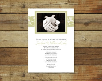Baptism invitation, baby dedication invitation, printable christening announcement, overnight shipping