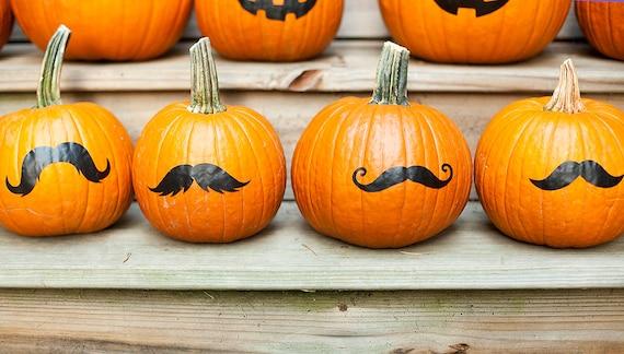 Pumpkin mustache stickers, no carve jack o lantern, Halloween decoration, set of 4
