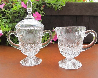 Vintage Sugar Bowl and Creamer Clear Glass Frosted Glass Flowers