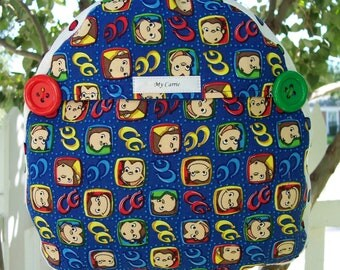 My Carrie Toddler Backpack made with Curious George Fabric