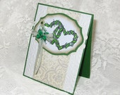 Celtic Wedding Card with Entwined Hearts and clover, White Vanilla and Green, Elegant ornate with paper lace and embossing