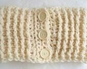 Chunky Cream Neckwarmer Crochet Scarf Unisex