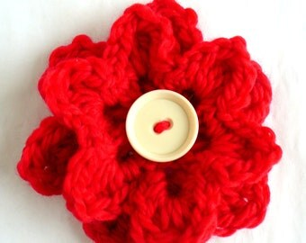 Big Chunky Red Crochet Flower Pin or Brooch with  cream  button centre