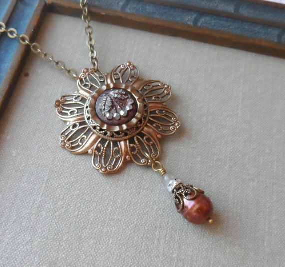 Antique Button Necklace with Freshwater Pearls,Cherry Picking
