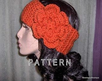 PATTERN Womens Crochet Headband Flower Earwarmer Women Accessorie