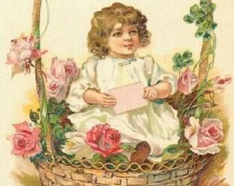 ART Print on SILK - Vintage Memories little girl in basket with rose and four leaf clovers Fiber Arts Collage Embellish