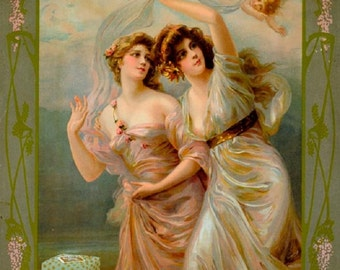 Art Print on SILK - Two French  lovelies in sheer gowns w angel advert for Creme Heliopolis - Embellish Embroider Collage Fiber Arts