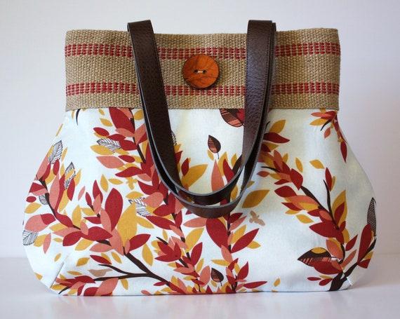 Birds and Foliage Handbag / Jute Webbing