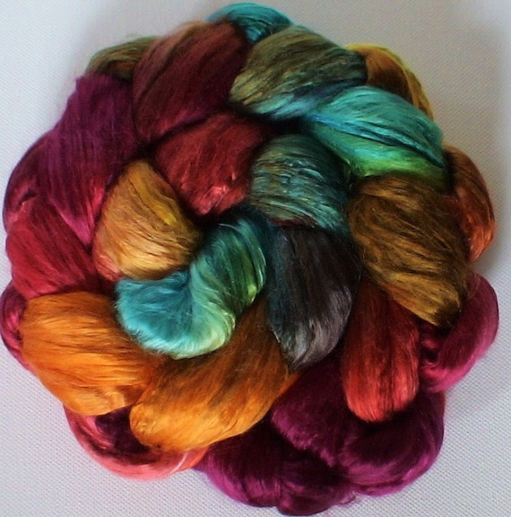 Hand Dyed Mulberry silk brick 3.5ozs Autumns Robes