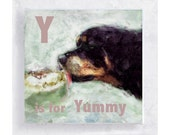 ABC Art - Kids Wall Art - Dog Art - Nursery Art - Alphabet Art - 5x5 Art Block - Y is for Yummy - Dog Portrait - Wall Art - Home Decor