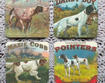 That's a Good Point -- Cigar Label Hunting Dog Mousepad Coaster Set
