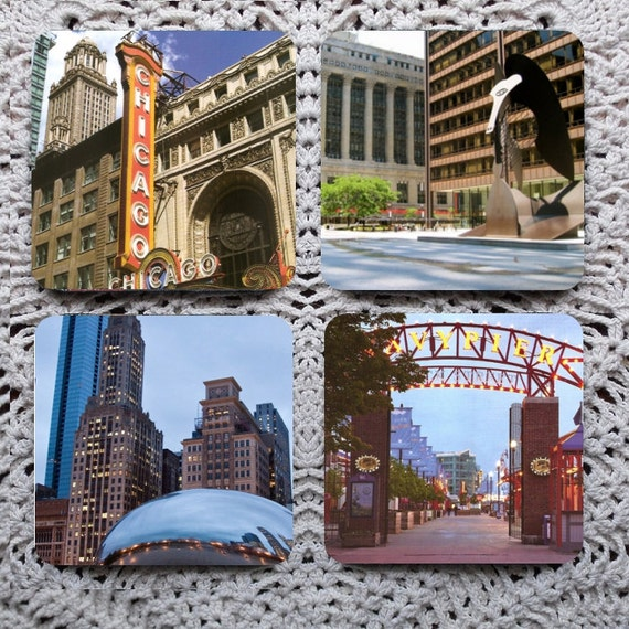 That Toddlin' Town -- Chicago Sights Mousepad Coaster Set