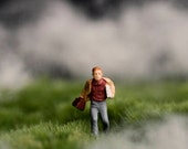 Diorama photography - boy running in field, student with books print - miniature art - The Thick