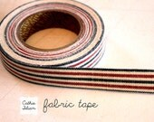 Red and Navy - Fabric Tape from Japan - washi gift wrap scrapbooking Pillow ticking stripe