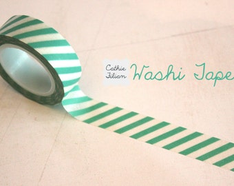 Washi Tape green and white stripe - 10.5 yard roll Japanese Deco Tape