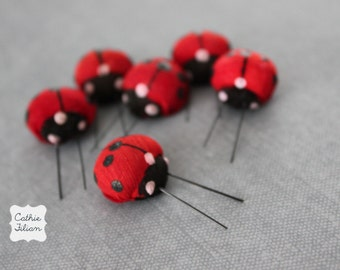 6 Red Lady Bugs - mushroom ladybugs for dioramas and terrariums