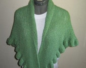 RESERVED for 666Ophelia-Knitted Triangle Shawl  with Ruffled Edge