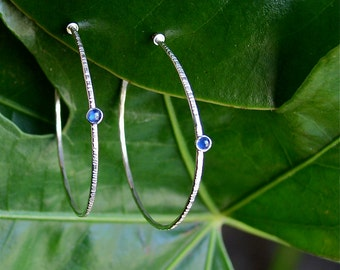 sterling silver genuine sapphire hoops