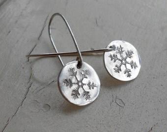Snowflake Earrings in Silver Filled Metal