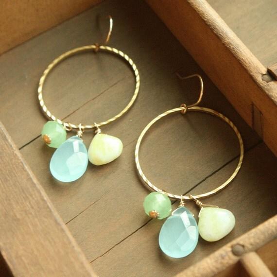 Blue Lagoon Chandelier Earrings, Textured Gold, Amazonite Quartz, Drop Earring, Chandelier Earrings,  Hoop Earrings, Bridesmaid