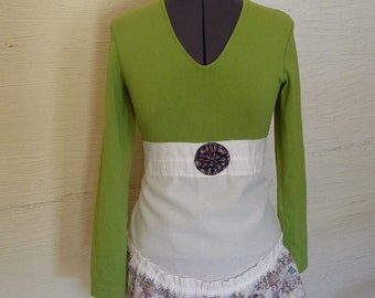 Green Long Sleeve Shirt, Apron Front Top, Upcycled Clothing, Handmade Shirt, YoYo, Birdhouses, Recycled Green Shirt, Unique Clothing, Small