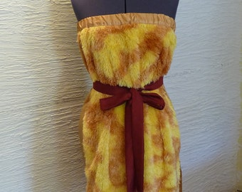 Fuzzy Wuzzy Dress Handmade Strapless Dress Yellow Orange Bergundy Belt Recycled Fabric Unique Clothing Soft Dress