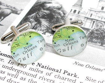 New Orleans Vintage Map Sterling Silver Round Cufflinks.