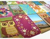 18 Vintage Woodland Owl Bird Flower Water playing card Paper Ephemera collection