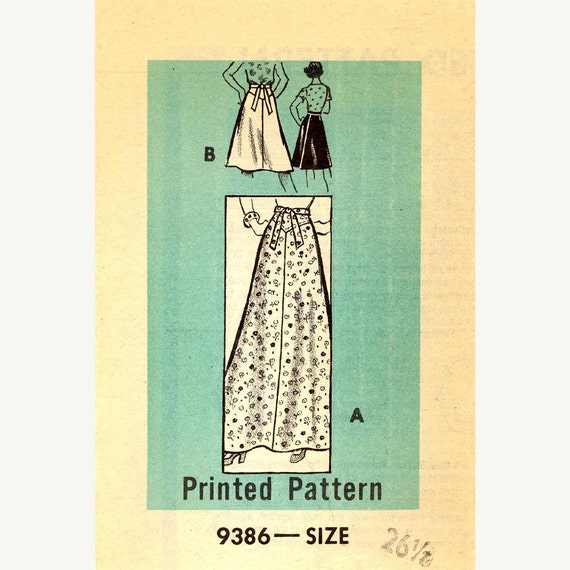 maxi or knee length wrap skirt mail order 9386 vintage by