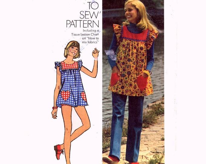70s Simplicity 5423 smock top heart shaped pockets pants bikini shorts vintage sewing pattern Sz 10