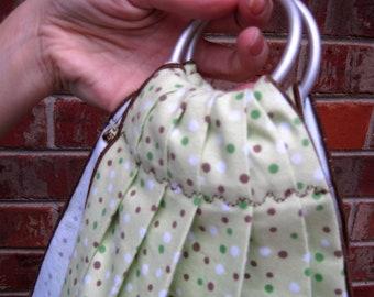 Midwifery Weighing Sling- Spring Green Dot Flannel - beautiful keepsake or photo prop