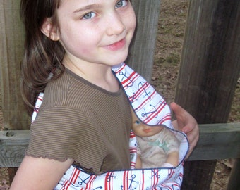 Childrens toy sling - Cozy flannel doll pouch carrier - comes gift ready