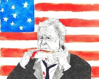 A Tear For America, President George W. Bush crying while eating hotdog print