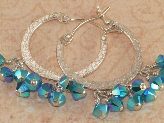 Blue Crystal Hoop Earrings, Sterling Silver, Swarovski, Carribean Blue Opal, 2xAB, Hammered, Wire Wrapped, Handmade Jewelry, DDurda
