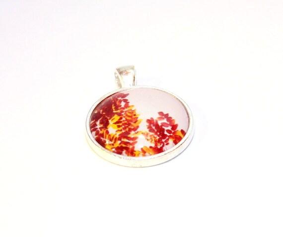 Copper, SALE 30% OFF Copper Leaves Fashion Tree Jewelry - Copper Colored Leaves Photo Pendant, tangerine tango