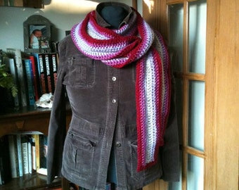 Striped Crocheted Scarf in Purples and Reds, with Red Edge