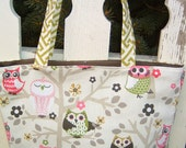 Pink and Green Owl Purse Tote Diaper Bag Stinkin Cute Bags