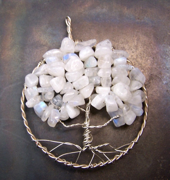 Clearance sale - Large Tree of Life - Rainbow Moonstone and Sterling Silver Tree of Life necklace - June birthstone birthday