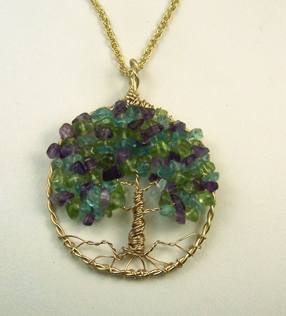 birthstone necklace family tree personalized gift jewelry