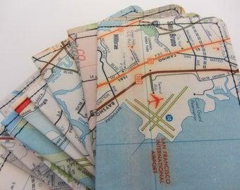 Slim Wallet- Vintage Peninsula Bay Area Map- Choose 1