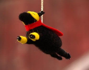 Super Hero Black Lamb Ornament in Red - Needle Felted Sheep to the Rescue