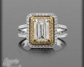 Diamond Split Shank Engagement Ring with 2.50 carat diamond, Yellow Sapphire and Diamond Double Halo - LS2558