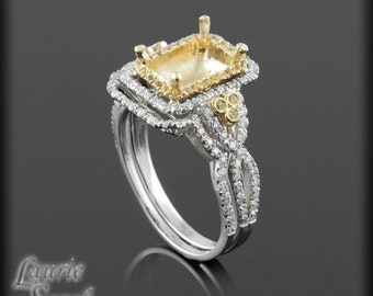 Yellow Sapphire Double Halo Semi Mount for a Rectangular, Asscher, Cushion, Radiant, or Princess Cut Gem With Matching Wedding Band - LS1652