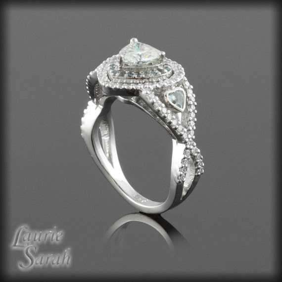 moissanite engagement ring in platinum with by