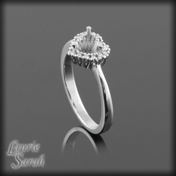 Engagement Ring, Heart Diamond Semi-Mount with a Single Halo - LS668