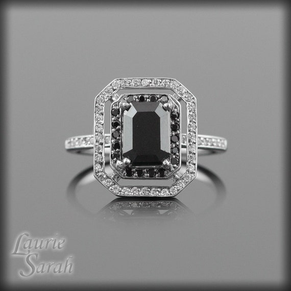 Black Diamond Engagement Ring Emerald Cut by LaurieSarahDesigns