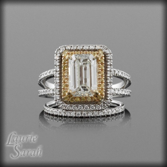Emerald Cut Engagement Ring, Diamond and Yellow Sapphire Split Shank Engagement Ring and Wedding Set - LS1248